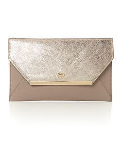 Clarence gold/grey envelope clutch bag