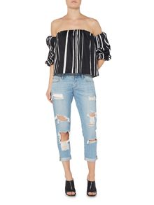Bardot Off Shoulder Puff Sleeve Striped Cropped Top