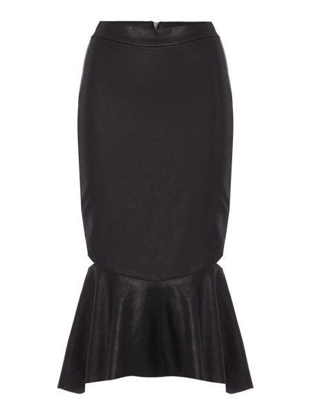 Bardot PU Peplum Cut Out Skirt
