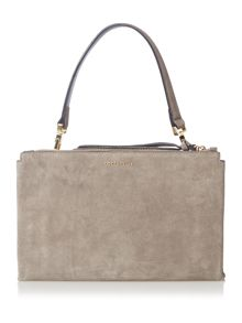 Coccinelle Arlettis suede grey medium flapover crossbody bag