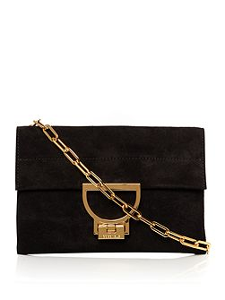 Artlettis Suede Black Small Chain Clutch