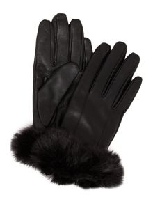 Biba Faux fur cuff leather glove