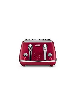 Elements Flame Red 4 Slot Toaster