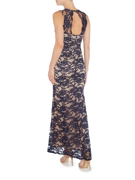 Jessica Wright Short Sleeved Open Back Lace Maxi Dress