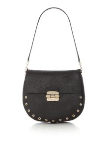 Furla Club black foldover shoulder bag