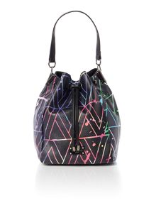 Paul's Boutique Patent maisy black medium rounded tote bag