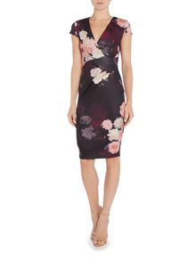 Jessica Wright Cap Sleeve V Neck Printed Bodycon Dress