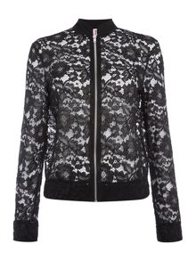 Jessica Wright Long Sleeved Lace Bomber Jacket