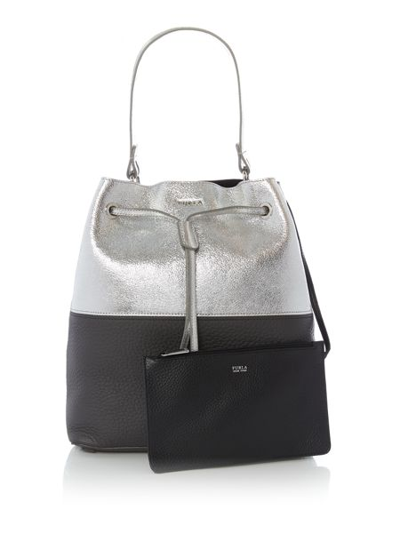 Furla Stacey grey bucket bag
