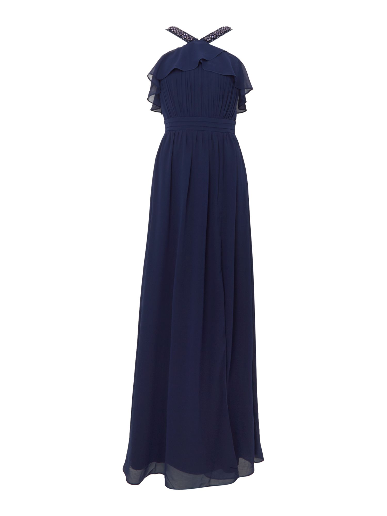 Little Mistress Cross Over Neck Split Maxi Dress, Blue