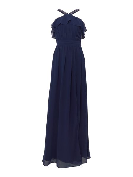 Little Mistress Cross Over Neck Split Maxi Dress