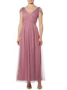 Little Mistress Cold Shoulder V Neck Maxi Dress