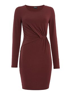 Long Sleeve Gathered Bodycon Dress