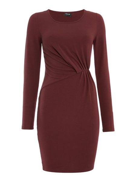 Vila Long Sleeve Gathered Bodycon Dress