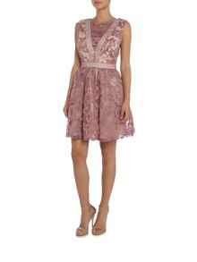 Little Mistress Sleeveless Lace Overlay Fit and Flare Dress