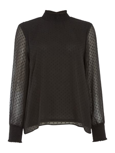 Vila Long Sleeve Textured High Neck Top