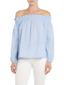 Vila 3/4 Sleeve Bardot Top