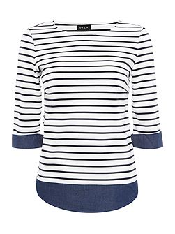 3/4 Sleeve Stripe Top with Denim Detail