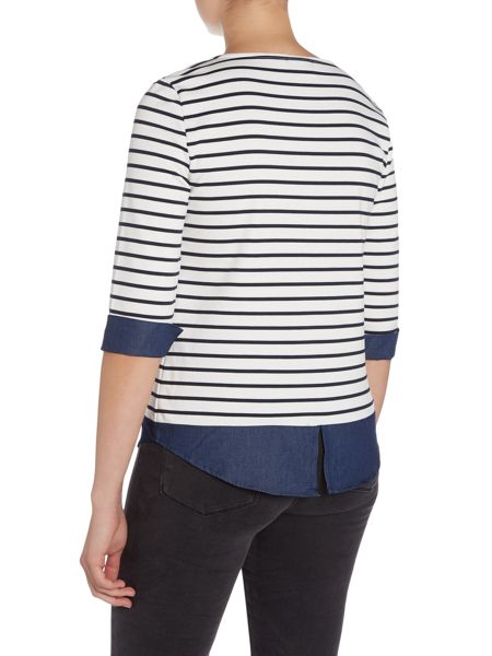Vila 3/4 Sleeve Stripe Top with Denim Detail