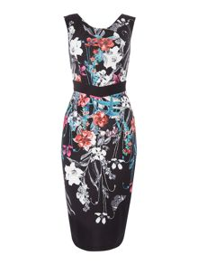 Little Mistress Sleeveless Botancial Printed Bodycon Dress