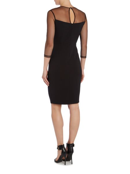 Little Mistress Mesh Sleeve Embroidered Bodycon Dress