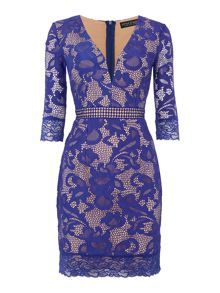 Little Mistress 3/4 Sleeve Lace Bodycon Dress
