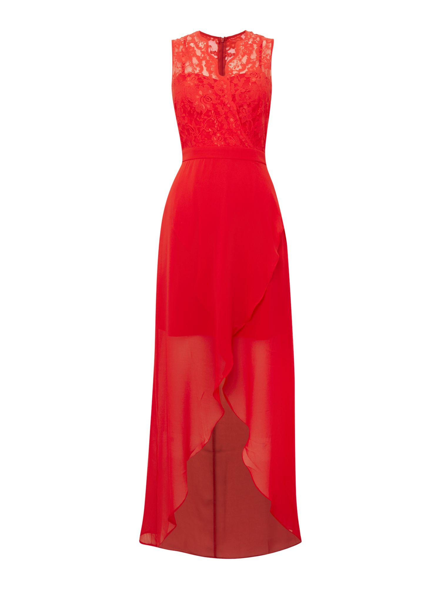 Elise Ryan Elise Ryan Lace Top High Low Maxi Dress, Red