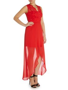 Elise Ryan Lace Top High Low Maxi Dress