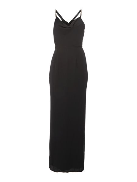 Elise Ryan Short Sleeved Cross Back Maxi Dress