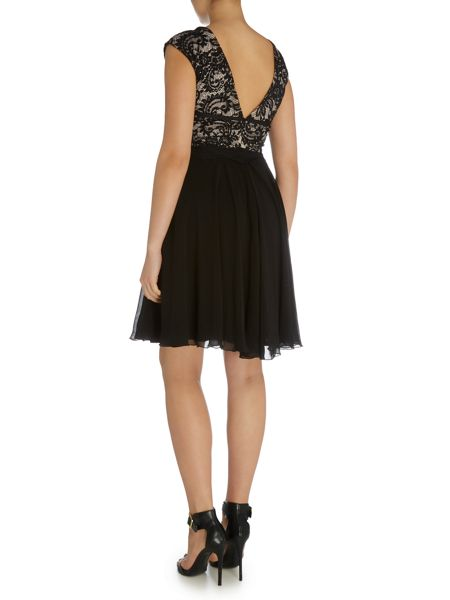 Elise Ryan Cap Sleeve Lace Top V Back Skater Dress