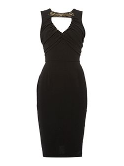 Short Sleeved Embellished Neckline Bodycon Dress