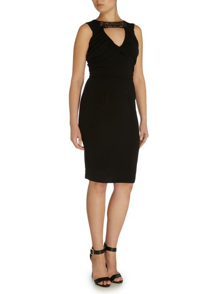 Elise Ryan Short Sleeved Embellished Neckline Bodycon Dress