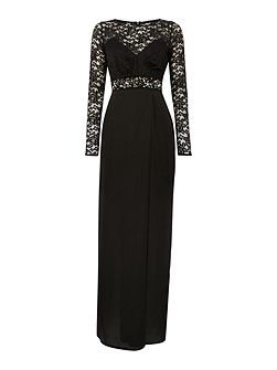 Long Sleeved Lace Top Maxi Dress