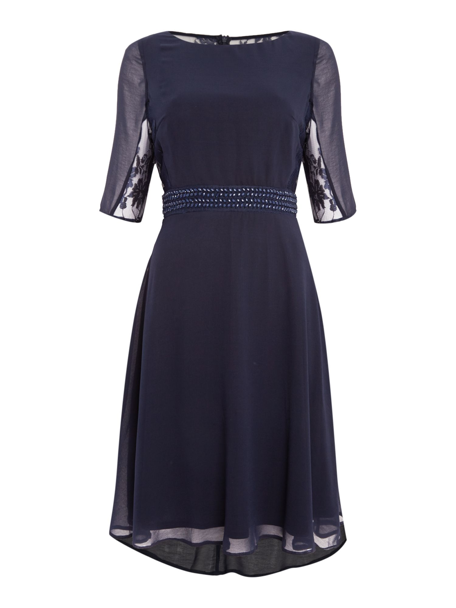 Elise Ryan Elise Ryan 3/4 Sleeve Lace Back Skater Dress, Navy