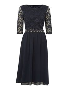 Elise Ryan 3/4 Sleeve Overlay Midi Dress