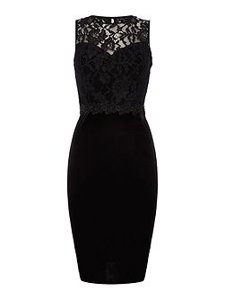 Short Sleeved Lace Top Velvet Bodycon Dress