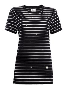Zoe Karssen Short sleeve stripe cut out tee