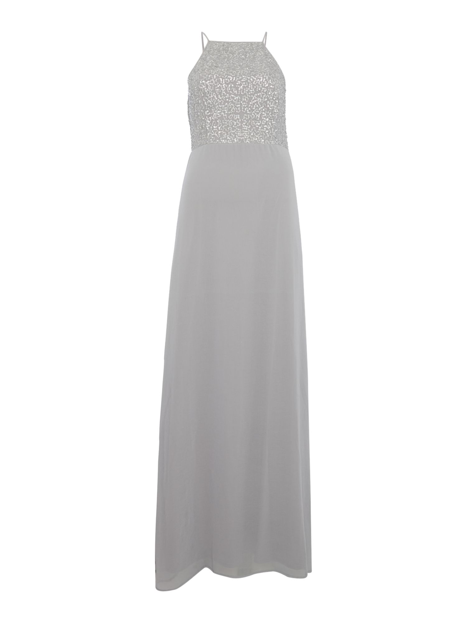 Lace and Beads Sleeveless halter neck embellished top maxi dress, Grey