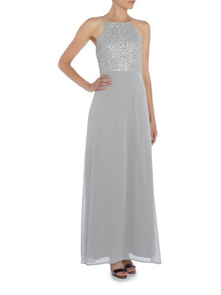 Lace and Beads Sleeveless halter neck embellished top maxi dress
