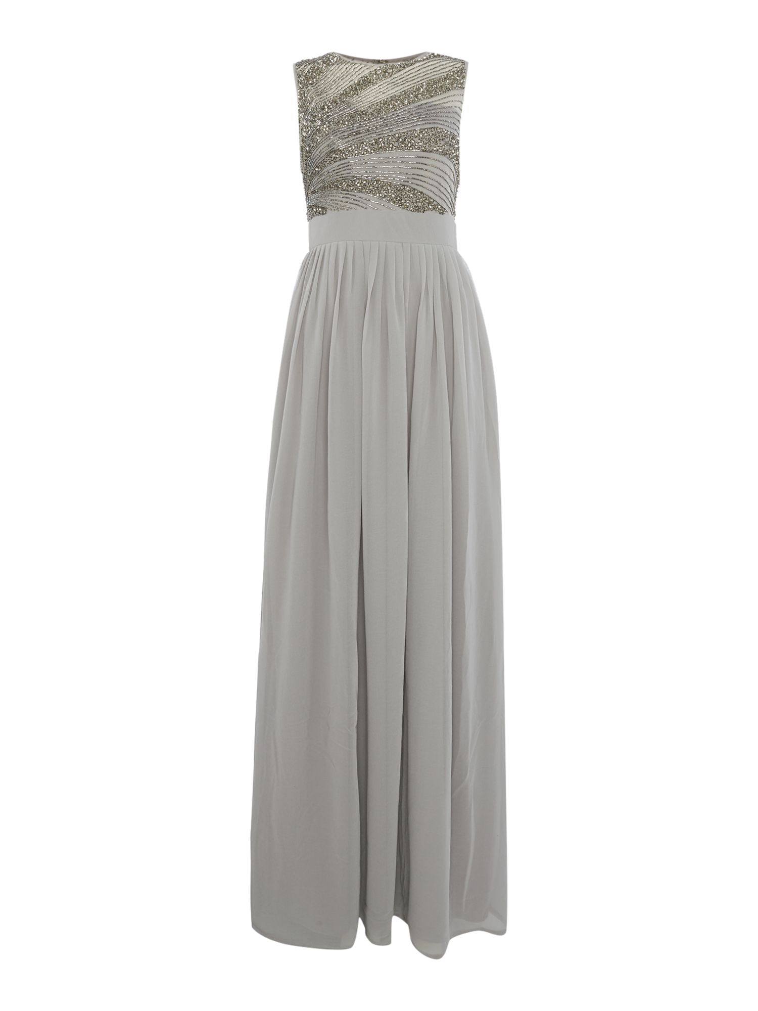 Lace and Beads Lace and Beads Sleeveless Maxi Dress, Grey