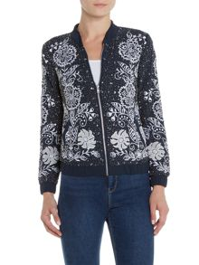 Lace and Beads Long sleeve embellished bomber jacket