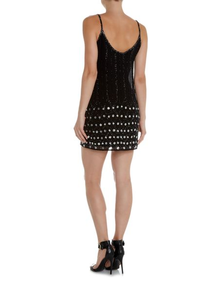 Lace and Beads Short sleeve strappy shift dress