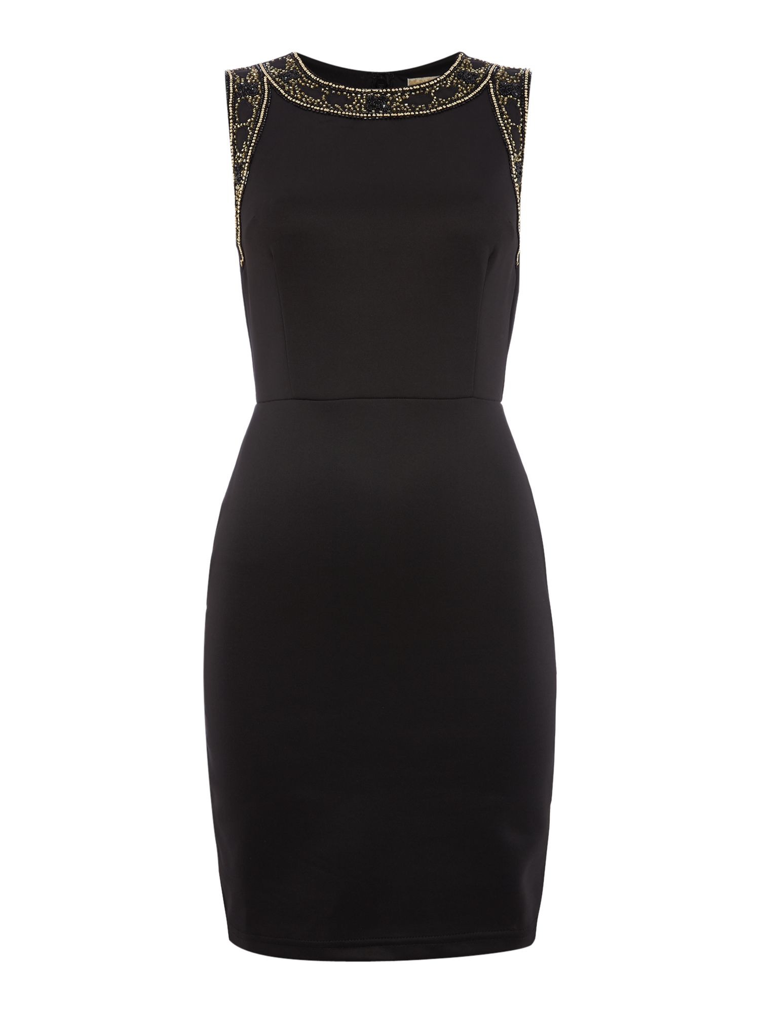 Lace and Beads Lace and Beads Short sleeve cut out scuba bodycon dress, Black