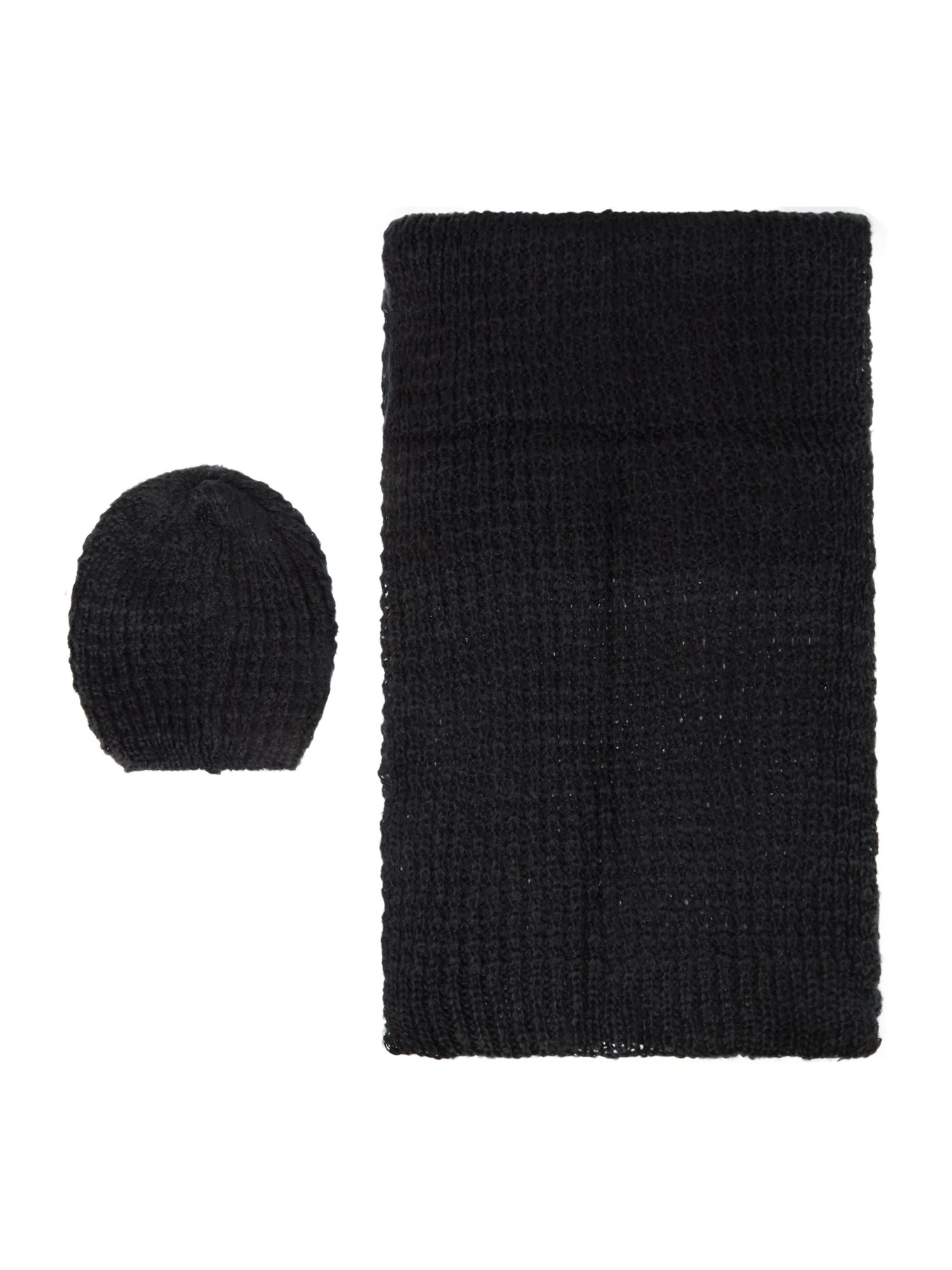 Pieces Pieces Knitted scarf and hat gift set, Black