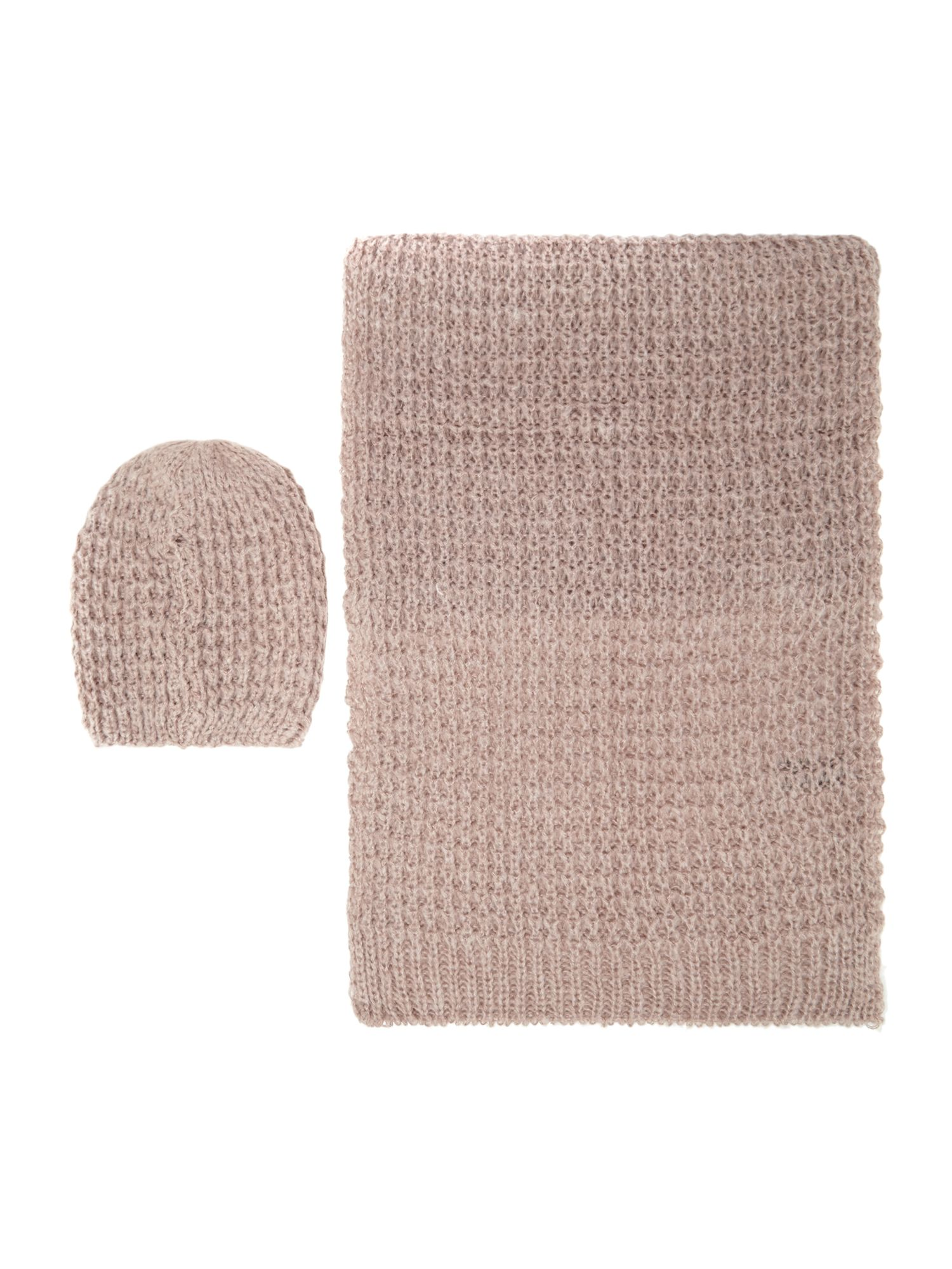 Pieces Pieces Knitted scarf and hat gift set, Rose