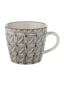 Linea Tribe black square mug
