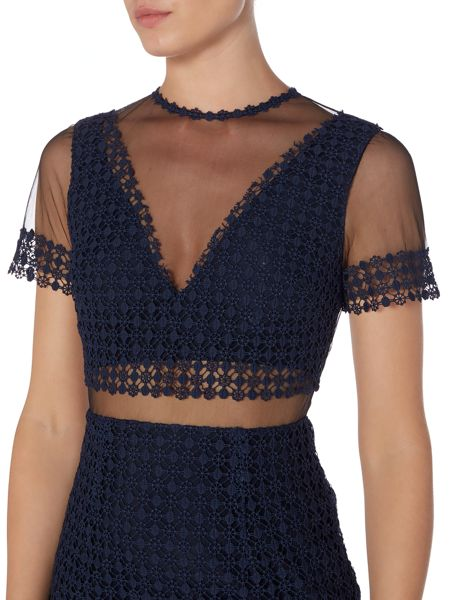 Lost Ink Short Sleeved Mesh Insert Lace Detail Dress