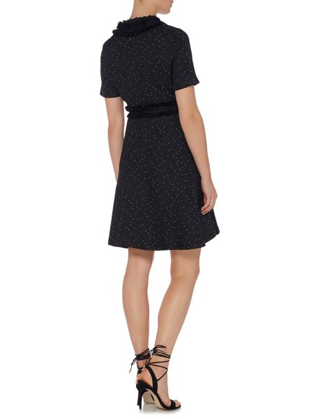 Lost Ink Short Sleeved Ruffle Neck and Waist Dress