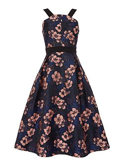 Sleeveless Square Neck Flower Fit and Flare Dress