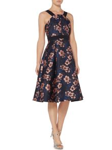Lost Ink Sleeveless Square Neck Flower Fit and Flare Dress